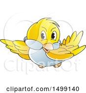 Clipart Of A Flying Yellow Bird Royalty Free Vector Illustration
