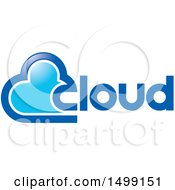 Clipart Of A Blue Cloud And Text Design Royalty Free Vector Illustration by Lal Perera