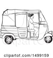 Clipart Of A Black And White Woman Driving A Three Wheeler Rickshaw Vehicle Royalty Free Vector Illustration by Lal Perera