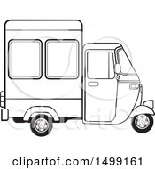 Clipart Of A Black And White Three Wheeler Rickshaw Vehicle Royalty Free Vector Illustration by Lal Perera