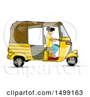 Clipart Of A Woman Driving A Yellow Three Wheeler Rickshaw Vehicle Royalty Free Vector Illustration by Lal Perera