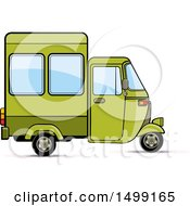 Clipart Of A Green Three Wheeler Rickshaw Vehicle Royalty Free Vector Illustration by Lal Perera