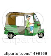 Clipart Of A Woman Driving A Green Three Wheeler Rickshaw Vehicle Royalty Free Vector Illustration by Lal Perera