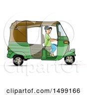 Woman Driving A Green Three Wheeler Rickshaw Vehicle