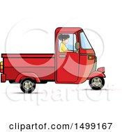 Woman Driving A Red Three Wheeler Rickshaw Vehicle