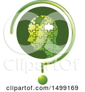 Clipart Of A Profiled Puzzle Head With A Missing Piece In A Question Mark Royalty Free Vector Illustration