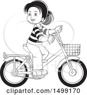 Clipart Of A Black And White Happy Girl Riding A Bicycle Royalty Free Vector Illustration by Lal Perera