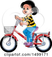 Clipart Of A Happy Girl Riding A Bicycle Royalty Free Vector Illustration by Lal Perera