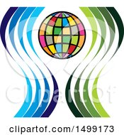 Clipart Of A Colorful Globe With Swooshes Royalty Free Vector Illustration