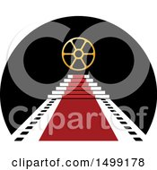 Clipart Of A Reel Over A Vip Red Carpet Film Strip Design Royalty Free Vector Illustration by Lal Perera