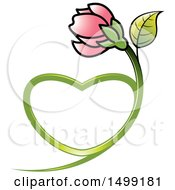 Clipart Of A Pink Flower With A Heart Shaped Stem Royalty Free Vector Illustration