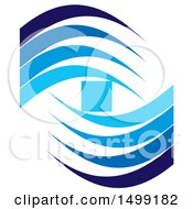 Clipart Of A Design Of A Blue Square And Wave Swooshes Royalty Free Vector Illustration by Lal Perera