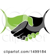 Clipart Of A Green And Black Handshake Royalty Free Vector Illustration by Lal Perera