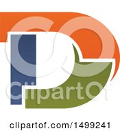 Clipart Of An Abstract Letter D Logo Royalty Free Vector Illustration