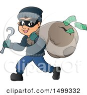 Clipart Of A Bank Robber Running With A Torn Sack Dropping Money Royalty Free Vector Illustration