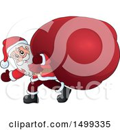 Clipart Of Santa Claus Carrying A Giant Sack Royalty Free Vector Illustration