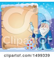 Father Frost Or Santa Claus With A Parchment Scroll