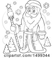 Father Frost Or Santa Claus In Black And White