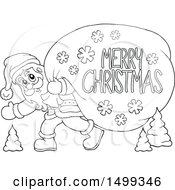 Clipart Of Santa Claus Carrying A Giant Sack With A Merry Christmas Greeting In Black And White Royalty Free Vector Illustration