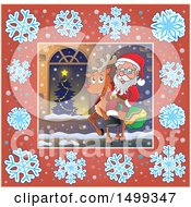 Clipart Of Santa Claus Riding A Reindeer In A Snowflake Frame Royalty Free Vector Illustration
