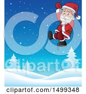 Clipart Of Santa On A Rope Over A Winter Landscape Royalty Free Vector Illustration