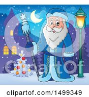 Clipart Of Father Frost Or Santa Claus Royalty Free Vector Illustration