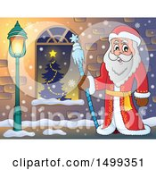 Father Frost Or Santa Claus By A Window