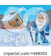 Clipart Of Father Frost Or Santa Claus Near A Cabin Royalty Free Vector Illustration by visekart
