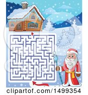 Clipart Of Father Frost Or Santa Claus On A Maze Leading To A Cabin Royalty Free Vector Illustration by visekart