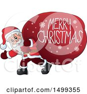 Santa Claus Carrying A Giant Sack With A Merry Christmas Greeting