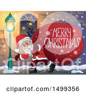 Clipart Of Santa Claus Carrying A Giant Sack With A Merry Christmas Greeting On A Sidewalk Royalty Free Vector Illustration