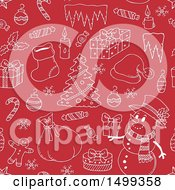 Clipart Of A Red And White Seamless Background With Christmas Items Royalty Free Vector Illustration by visekart