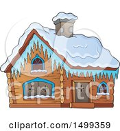 Clipart Of A Winter Cottage Or Log Cabin Royalty Free Vector Illustration