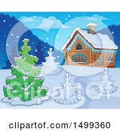 Winter Cottage Or Log Cabin With Trees