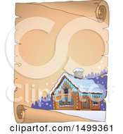 Clipart Of A Parchment Scroll With A Winter Cottage Or Log Cabin Royalty Free Vector Illustration
