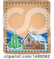 Clipart Of A Parchment Page With A Winter Cottage Or Log Cabin Royalty Free Vector Illustration