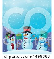 Clipart Of A Group Of Snowmen Royalty Free Vector Illustration