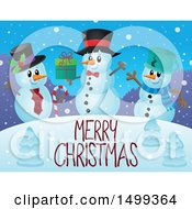 Clipart Of A Group Of Snowmen With A Merry Christmas Greeting Royalty Free Vector Illustration