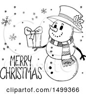 Clipart Of A Black And White Snowman With A Merry Christmas Greeting Royalty Free Vector Illustration