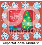 Clipart Of A Merry Christmas Greeting With A Tree And Gifts In A Snowflake Border Royalty Free Vector Illustration