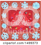 Clipart Of A Merry Christmas Greeting With Lights In A Snowflake Border Royalty Free Vector Illustration