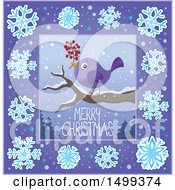 Clipart Of A Merry Christmas Greeting With A Bird In A Snowflake Border Royalty Free Vector Illustration