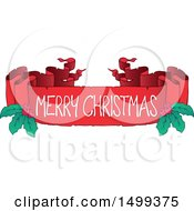 Clipart Of A Merry Christmas Ribbon Banner With Holly Royalty Free Vector Illustration