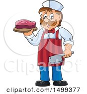 Clipart Of A Male Butcher Holding A Steak And Cleaver Knife Royalty Free Vector Illustration by visekart