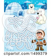 Clipart Of A Polar Bear Igloo And Eskimo Arctic Maze Royalty Free Vector Illustration by visekart