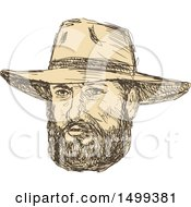Sketched Bearded Cowboy Face