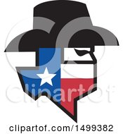 Clipart Of A Profiled Bandit Face With A Hat And Texas State Map Royalty Free Vector Illustration