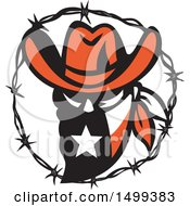 Clipart Of A Texas Outlaw Face Wearing A Bandana In A Barbed Wire Frame Royalty Free Vector Illustration