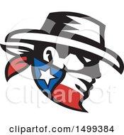 Retro Profiled Cowboy Bandit Face Wearing A Texan Bandana