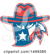 Clipart Of A Retro Texan Outlaw Wearing A Bandana And Cowboy Hat Royalty Free Vector Illustration